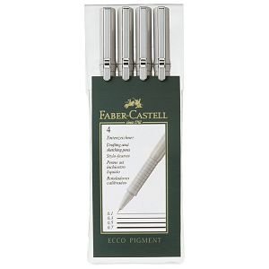 Flomaster za tehničko crtanje pk4 Ecco Pigment Faber Castell 166004 crni blister