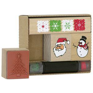 Žig s motivom 4 uzorka drveni novogodišnji Heyda 20-48884 82