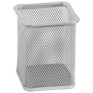 Čaša za olovke metalna žica četvrtasta 8x8x9,8cm LD01-39 Fornax srebrna