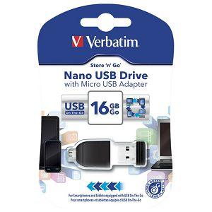 Memorija USB 16GB StorenStay Nano s micro USB adapterom Verbatim 49821 blister