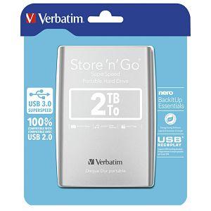 """Hard disk 2.5""""     2Tb USB 3.0 Verbatim 53189 srebrni"""