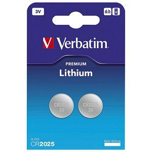 Baterija litij dugmasta 3V pk2 CR2025 Verbatim 49935 blister!!