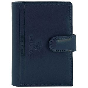 Etui za kartice/vizitke s gumbom koža Emporio Valentini 563LB01 plavi