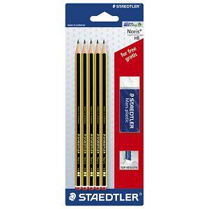 Olovka grafitna HB Noris+gumica pk5 Staedtler 120ASBKD blister