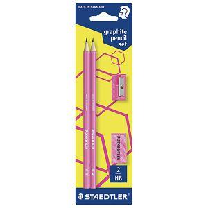 Olovka grafitna HB Wopex Neon pk2+gumica+šiljilo Staedtler 180FSBK2P1 rozi blister!!