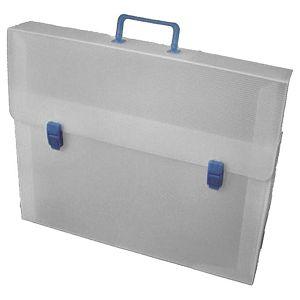 Torba-kofer pp-tvrdi  380x270x80mm Balmar (Dispaco) ECO8T prozirno bijela/plava ručka!!