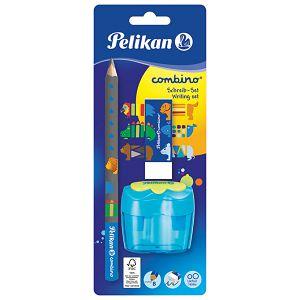 Olovka grafitna B Combino+gumica+šiljilo dvostruko sa spremnikom Pelikan 811217 blister