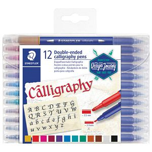 Flomaster 12boja obostrani s 2 vrha za kaligrafiju Design Journey Staedtler 3005 TB12 blister