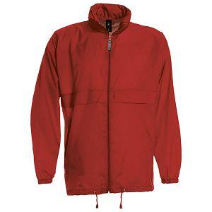Vjetrovka s kapuljačom zip unisex B&C Sirocco crvena 2XL