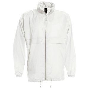 Vjetrovka s kapuljačom zip unisex B&C Sirocco bijela L