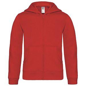 Majica dugi rukavi B&C Hooded Full Zip/Kids 280g crvena 9/11!!