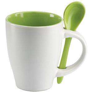 Šalica 250ml sa žličicom bijela/zelena