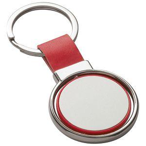 Privjesak za ključeve metalni - umjetna koža crveni