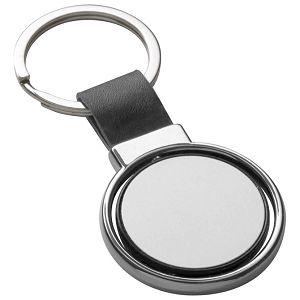 Privjesak za ključeve metalni - umjetna koža crni