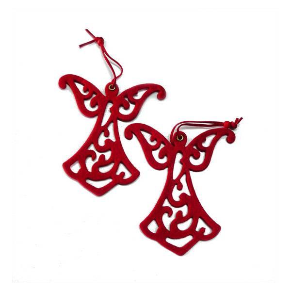 Anđeo od filca 12 cm crveni