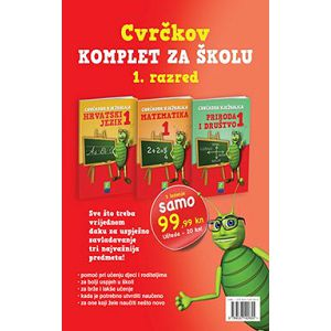 Cvrčkov komplet za školu 1. razred hrvatski, matematika, priroda i društvo