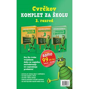 Cvrčkov komplet za školu 3. razred hrvatski, matematika, priroda i društvo