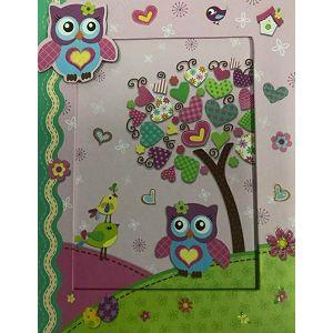Dnevnik s ključićem u foto kutiji sova i ptičica