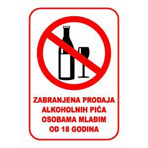 ETIKETA naljepnica Zabranjena prodaja alko.pića osob.mlađim od 18 god. 10.5x15cm