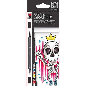 Flomasteri grafički 6/1 Aqua Pen, King of Bubblegum, dvostrani Marabu 627063