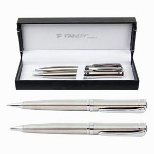 GARNITURA OLOVAKA Fandy JO.RHINO srebrna kemijska+tehnička olovka