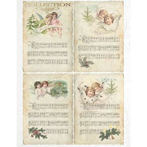 HOBBY Papir rižin za decoupage 21x29.7cm A4 1 komad Anđeli i glazba