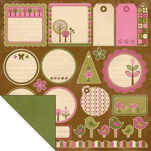 "Hobby papir scrapbooking 30,5x30,5cm ""Ptičice i oznake"""
