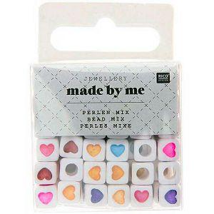 Hobby perle plastične, kockaste sa srcima, šarene 72/1 Rico Design 7090.63.44