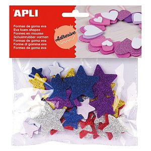 HOBBY stickers naljepnice glitter zvjezdice spužvaste šarene Apli 21kom