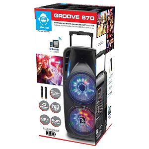 iDance karaoke Groove 870, 800W, BT, disco LED, baterija, 2*bež. mik, kotači