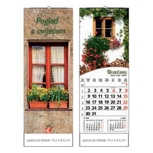 """Kalendar """"Pogled s cvijećem"""" uski okomiti 13 listova spirala"""