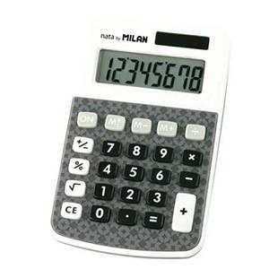 Kalkulator džepni Milan 150808AGBL bijelo sivi s uzorkom