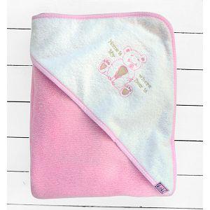 Koki ručnik s kapuljačom, vel. 90x90cm rozi