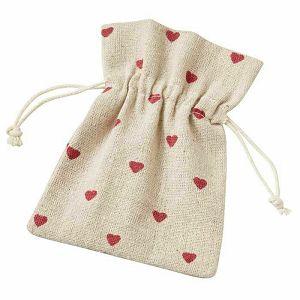 Lanena vrećica srca 10 x 13 cm