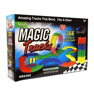 Magic Tracks pista za autiće svijetleća sa autićem, 335cm, 366 dijelova