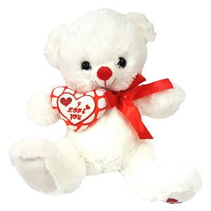 MEDO PLIŠ bijeli sa srcem 26cm Tommy Toys 027385