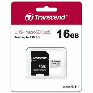MEMORY CARD SD 16GB micro SDHC, Class 10, Transcend UHS-I, Read do 95MB/s