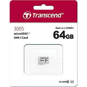 MEMORY CARD SD 64GB micro SDHC, Class 10,Transcend 300S, 95MB/s Read/Write