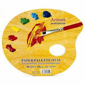 PALETA PAPIRNATA slikarska 25x30cm/40Lista, presvučen voskom 60gr Artmate