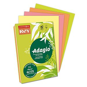 Papir Adagio Fluorescentne boje MIX A4 80gr 500/1