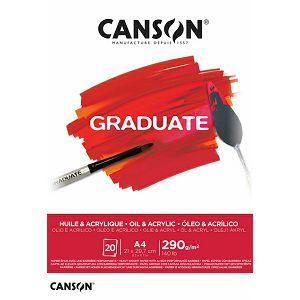 Papir slikarski za akril i ulje A4 290gr/20Lista Canson Graduate