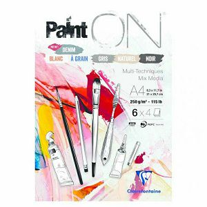 Papir slikarski za crtanje A4 250gr/24Lista, u 6 boja, PaintOn Clairefontaine