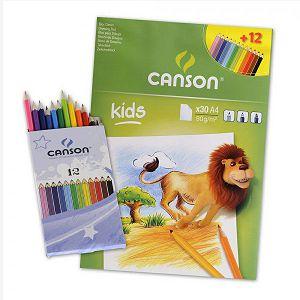 Papir slikarski za crtanje A4 90gr/30L+12 olovaka Canson Kids