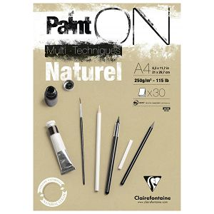 Papir slikarski za crtanje bež smeđi A4 250gr/30Lista PaintOn Clairefontaine