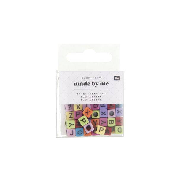 Hobby perle plastične 5x5x5mm kockasta slova, šarena 99/1 RicoDesign