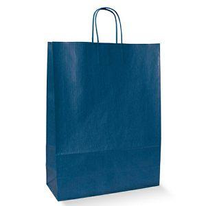 POKLON VREĆICA 22x10x31cm modra, pletena ručka
