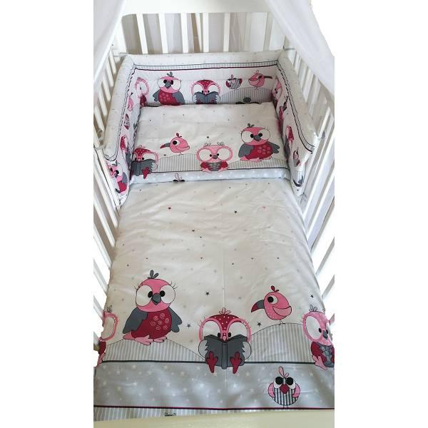 Posteljina za dječji krevetić 5 dijelna Sovice roza
