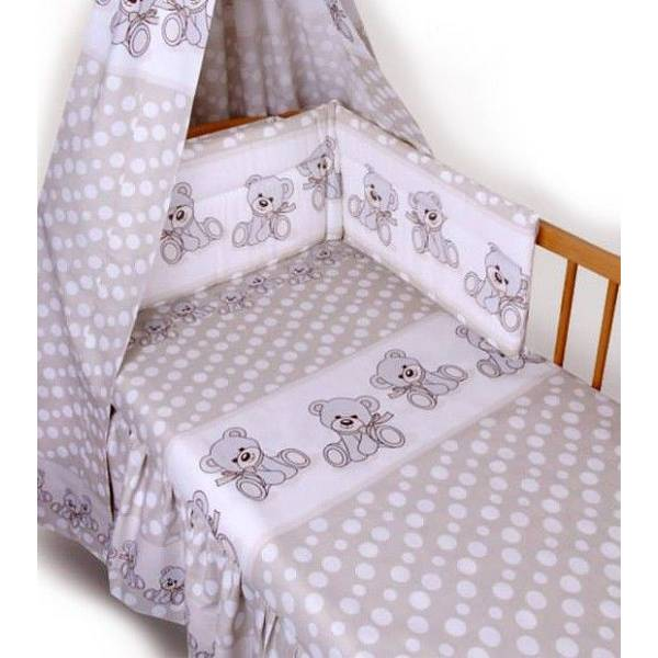 Posteljina za dječji krevetić 5 dijelna Medvjedići bež