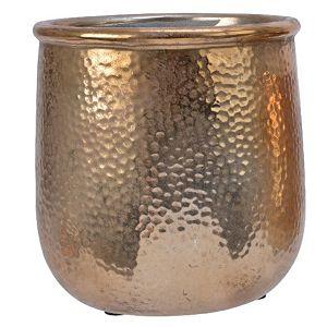 POSUDA za aranžiranje KERAMIČKA, okrugla, h15d13.5cm, zlatna 273458