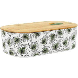 Posuda za hranu ovalna s poklopcem, bambus, Lišće